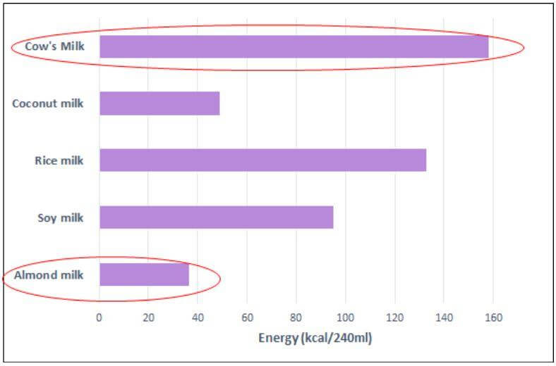 Graph Energy Comparison PlantBased and Cow Milks