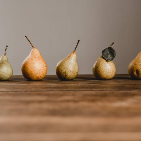 Five pears in a row