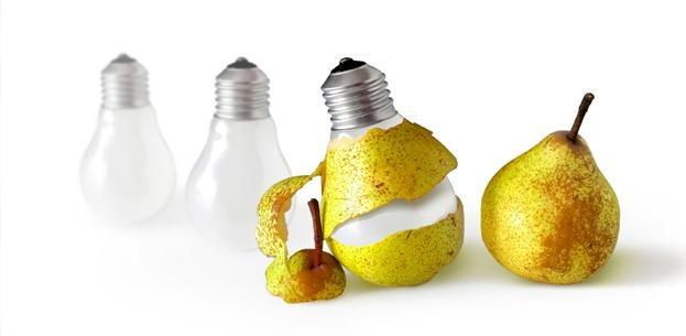 Lightbulb wrapped pear